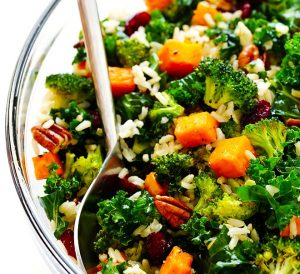 Light and Healthy Thanksgiving Sides and Desserts | Autumn Kales Salad with Sweet Potatoes and Broccoli