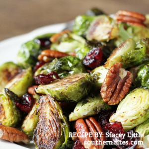 Simple and Delicious Holiday Recipes and Entertaining Essentials from RegistryFinder.com | Roasted Brussels Sprouts with Cranberries and Pecans