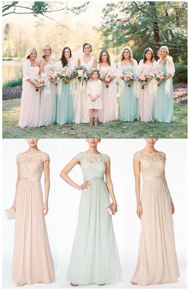 Bridesmaid Dress Ideas | Pastel Bridesmaid Dresses | Range of color bridesmaid dresses | Farm Wedding Inspiration