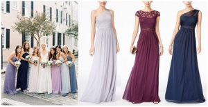 Bridesmaid Dress Trends | Purple Bridesmaid Dresses | Color spectrum bridesmaid dresses | Fall Wedding Inspiration