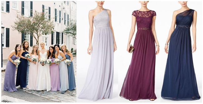 Bridesmaid Dress Trends | Purple Bridesmaid Dresses | Color spectrum bridesmaid dresses | Fall Wedding Inspiration