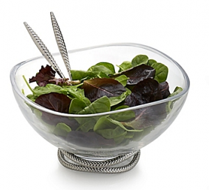 Nambe Braid Glass Salad Bowl with Servers