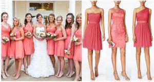Alt Text: Bridesmaid Dress Inspiration   Coral Bridesmaid Dresses   Mix and Match Bridesmaid Dresses   Summer Weddings