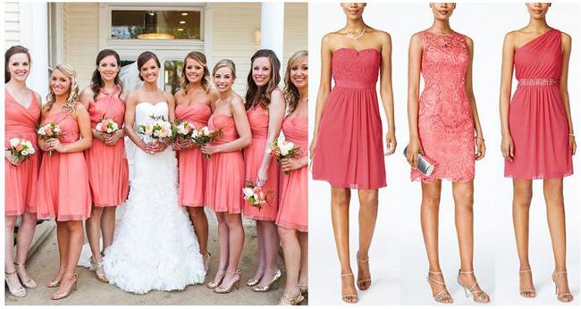 Alt Text: Bridesmaid Dress Inspiration | Coral Bridesmaid Dresses | Mix and Match Bridesmaid Dresses | Summer Weddings