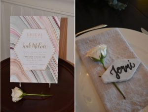 Marble-inspired bridal shower | Geode shower invitation | Marble place card