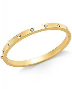 kate spade new york Gold-Tone Bezel-Set Polished Bangle Bracelet