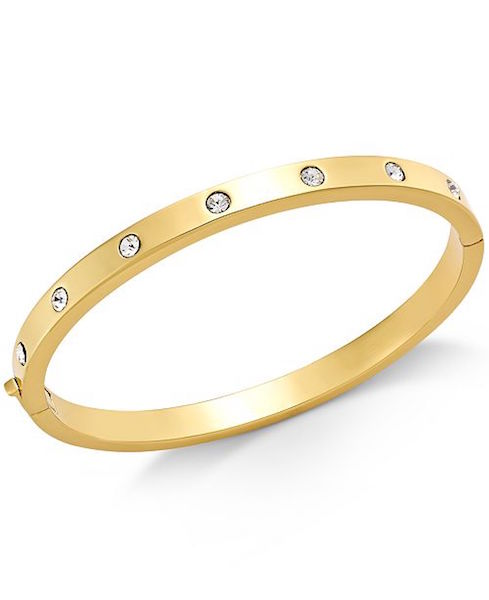 kate spade new york Gold-Tone Bezel-Set Polished Bangle Bracelet