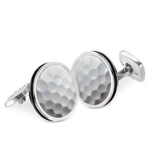 M-Clip Bordered Round Golf Ball Cufflinks