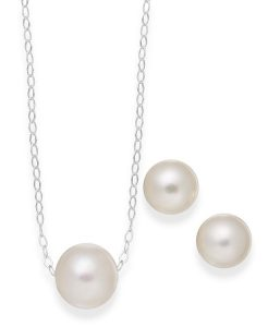 Cultured Freshwater Pearl Jewelry Set in Sterling Silver