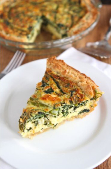 Asparagus, Spinach and Feta Quiche from Two Peas and Their Pod