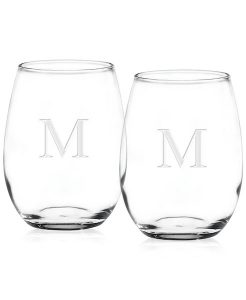 Culver Monogram Stemless Wine Glasses, Set of 2