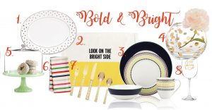 Bright table setting | Kate Spade Larabee Road oval platter | kate spade new york Food for Thought collection | kate spade dinnerware, Hopscotch Drive | kate spade new york Rose bowl vase | Martha Stewart Collection Jadeite cake stand | kate spade New York table linens | fancy wine glass | kate spade New York Larabee Dot gold flatware