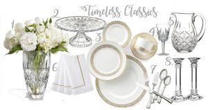 Classic table setting | Waterford crystal | Wedgewood Dinnerware | Vera Wang Dinnerware | Waterford candlesticks | Crystal cake stand