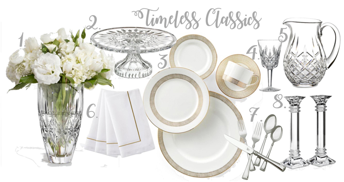 Classic table setting | Waterford crystal | Wedgewood Dinnerware | Vera Wang Dinnerware | Waterford candlesticks | Crystal cake stand