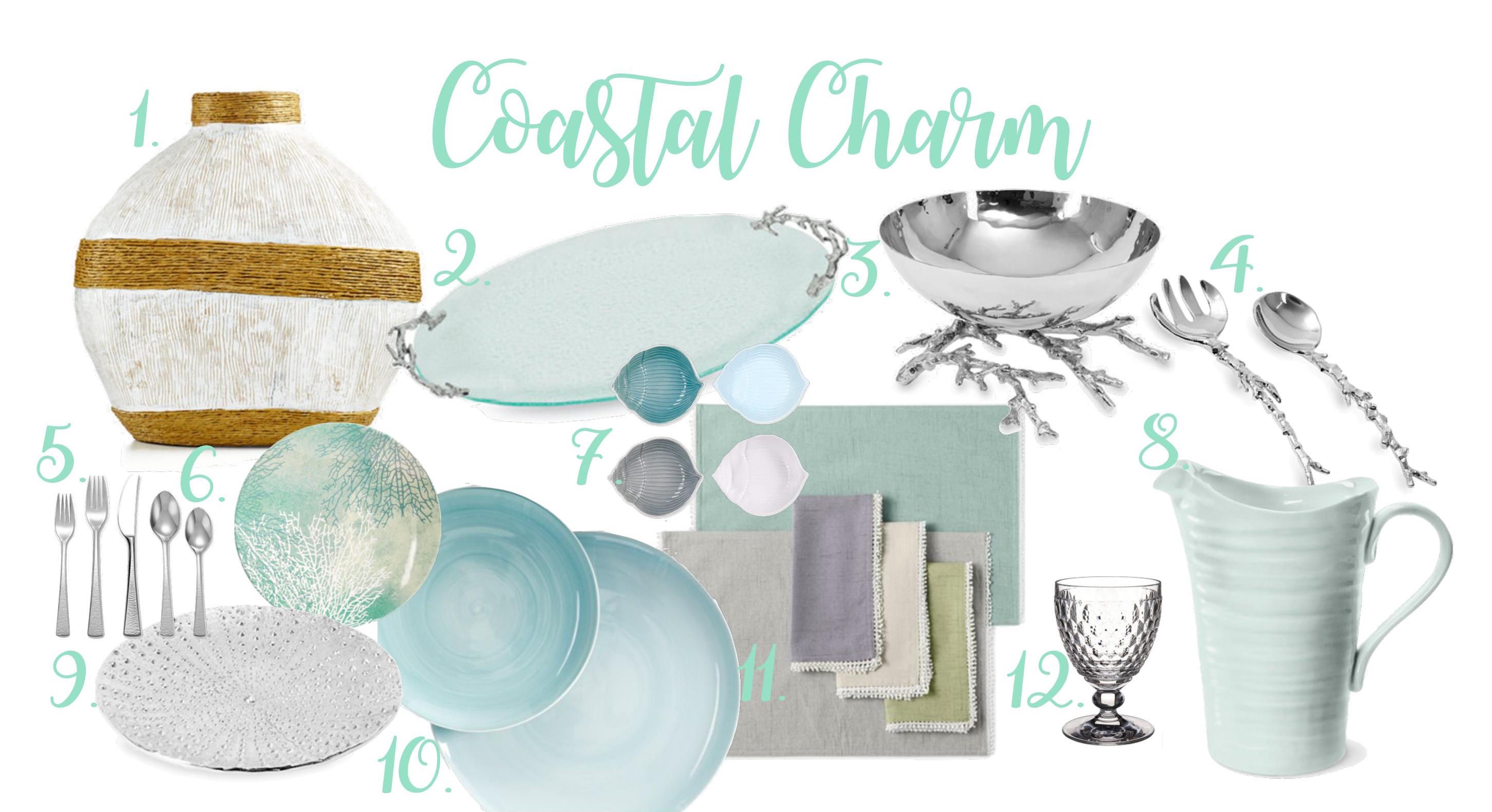 Coastal table setting | Michael Aram ocean coral platter | Michael Aram ocean coral serving bowl | Shell bowl set | Michael Aram sea urchin platter | Lenox French Perle placemat and napkins