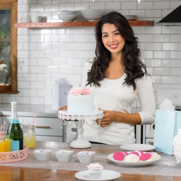 Portrait of a small business home catering owner pastry desserts sweets cake Portrait caterer asian woman beautiful party set up decoration mimosas champagne