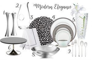 Modern table setting | Michael Aram cake stand | Nambe candle sticks | Kate Spade Place Setting | Waterford napkins | Mikasa crystal vase | Nambe bowl
