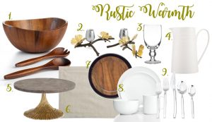 Rustic table   Rustic décor   Wood charger   Wood salad bowl   White dinnerware   Michael Aram candle holders