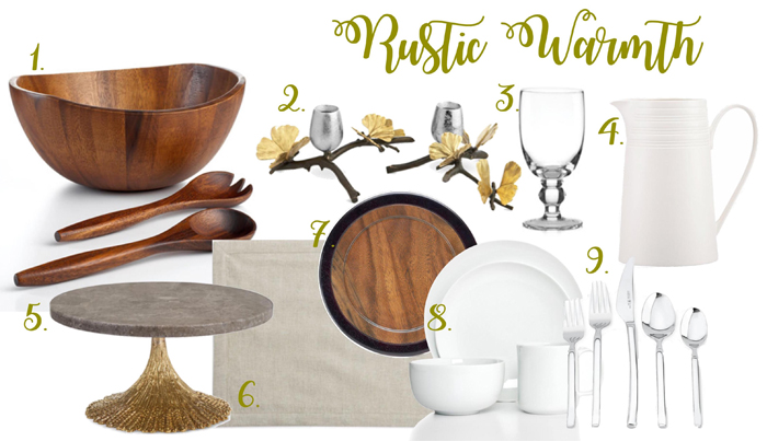 Rustic table | Rustic décor | Wood charger | Wood salad bowl | White dinnerware | Michael Aram candle holders