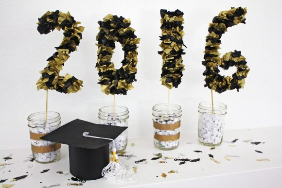 DIY Tissue Paper Numbers | Graduation Party Ideas