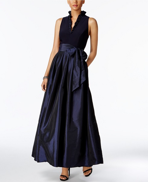 Jessica Howard Ruffled A-Line Gown