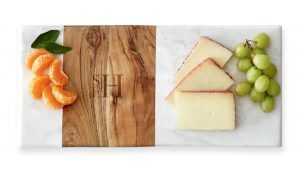 Monogram Gift   Wood and Marble Cheese Board