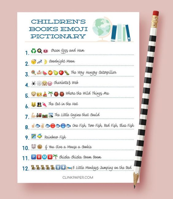 Children's Book Emoji Pictionary | Coed baby shower games