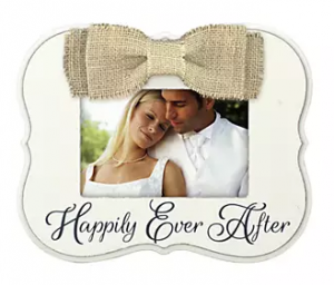 Maiden Burlap Bow Happily Ever After 4x6 Frame