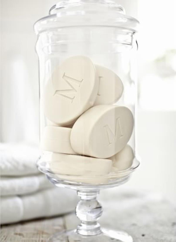 Monogrammed Oval Paperwhite Soap Set