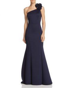 AQUA One-Shoulder Scuba Gown Bloomingdales