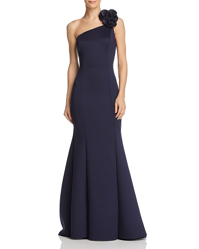 AQUA One-Shoulder Scuba Gown Bloomingdales