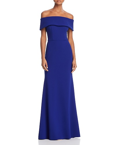 AQUA Off-the-Shoulder Scuba Crepe Gown Bloomingdales