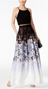 Wedding Guest Gown | Betsy and Adam Illusion 2-pc. Printed Halter Gown