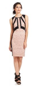 Wedding Guest Style Guide | Ivanka Trump Metallic Lace Colorblocked Sheath Dress