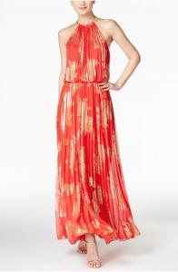 Summer Wedding Style | MSK Metallic-Print Pleated Blouson Gown