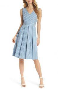 Samantha Slub Stripe Fit & Flare Dress Gal Meets Glam