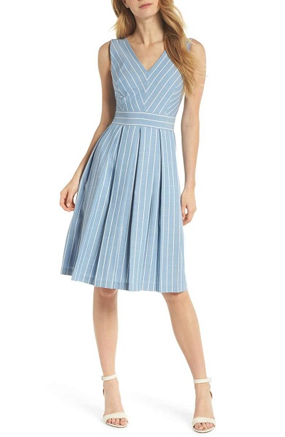 Samantha Slub Stripe Fit & Flare Dress Gal Meets Glam