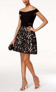 Summer Wedding Guest Style | XSCAPE Off-the-Shoulder Burnout Fit & Flare Dress