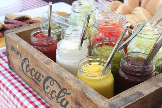 Condiments Display for Hot Dog Bar for Baby Shower