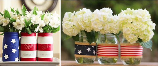 Mason Jar Decorations for Patriotic Baby Shower