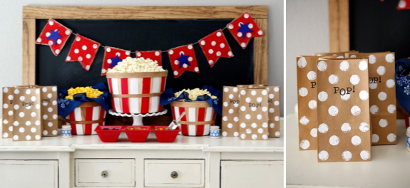 Popcorn Bar and Bags for Baby Showers