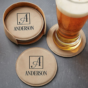 Personalized Gifts for Your Bridal Party   Leatherette Coaster Set