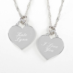 Personalized Bridesmaid Gift: Engraved Heart Necklace