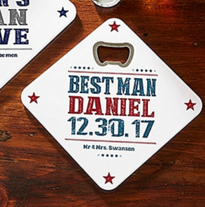 Personalized Groomsmen Gift: Beer Bottle Opener Coaster