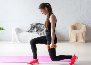 Use 5lb. weights and a yoga mat to avoid the Freshman 15