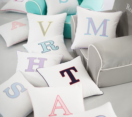 pottery barn kids pillows | monogram pillows | decorating a kids room