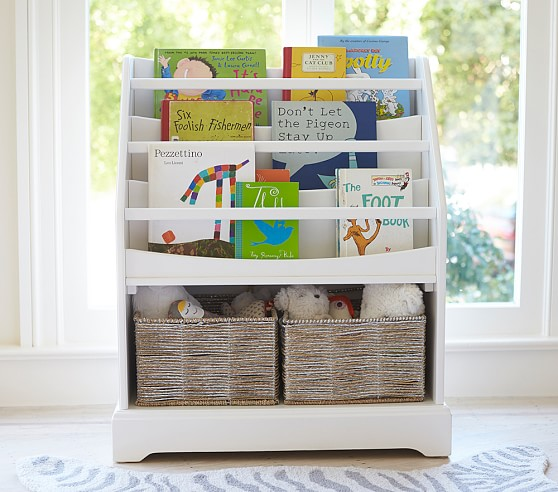pottery barn kids bookshelf | nursery storage | shelf to display books | bookshelf with room for baskets