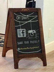 Oh Snap! Share your photos chalkboard | wedding hashtag