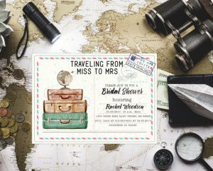 Travel-Themed Bridal Shower Invitation from Miss to Mrs. Invitation