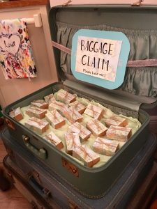 Vintage Suitcases | Chocolate truffle party favors | Travel-themed shower favors